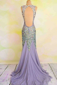 Sweet 16 Dresses | Unique V-neck open back chiffon crystal detailing trumpet/mermaid prom dresses