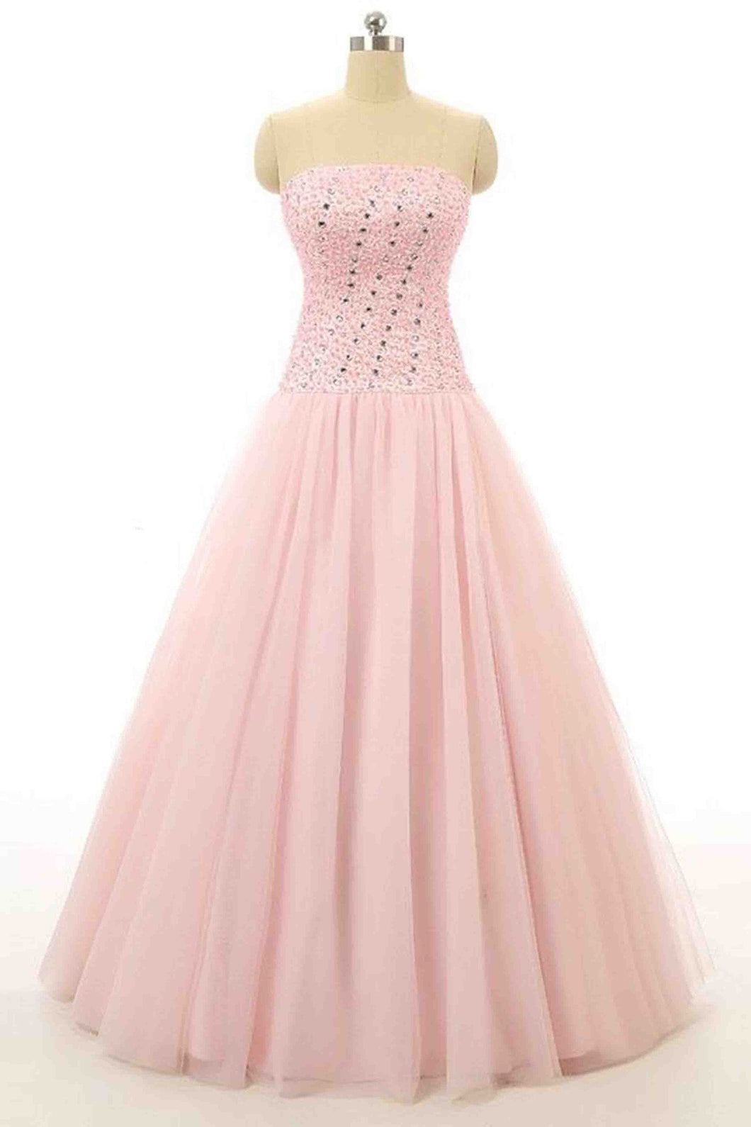 Sweet 16 Dresses | Pink tulle beading sweetheart A-line princess long prom dresses