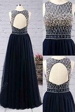 Load image into Gallery viewer, Sweet 16 Dresses | Princess scoop neck tulle floor-length with beading prom dresses