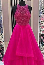 Load image into Gallery viewer, 2018 evening gowns - Hot pink tulle beading round neck A-line long evening dresses