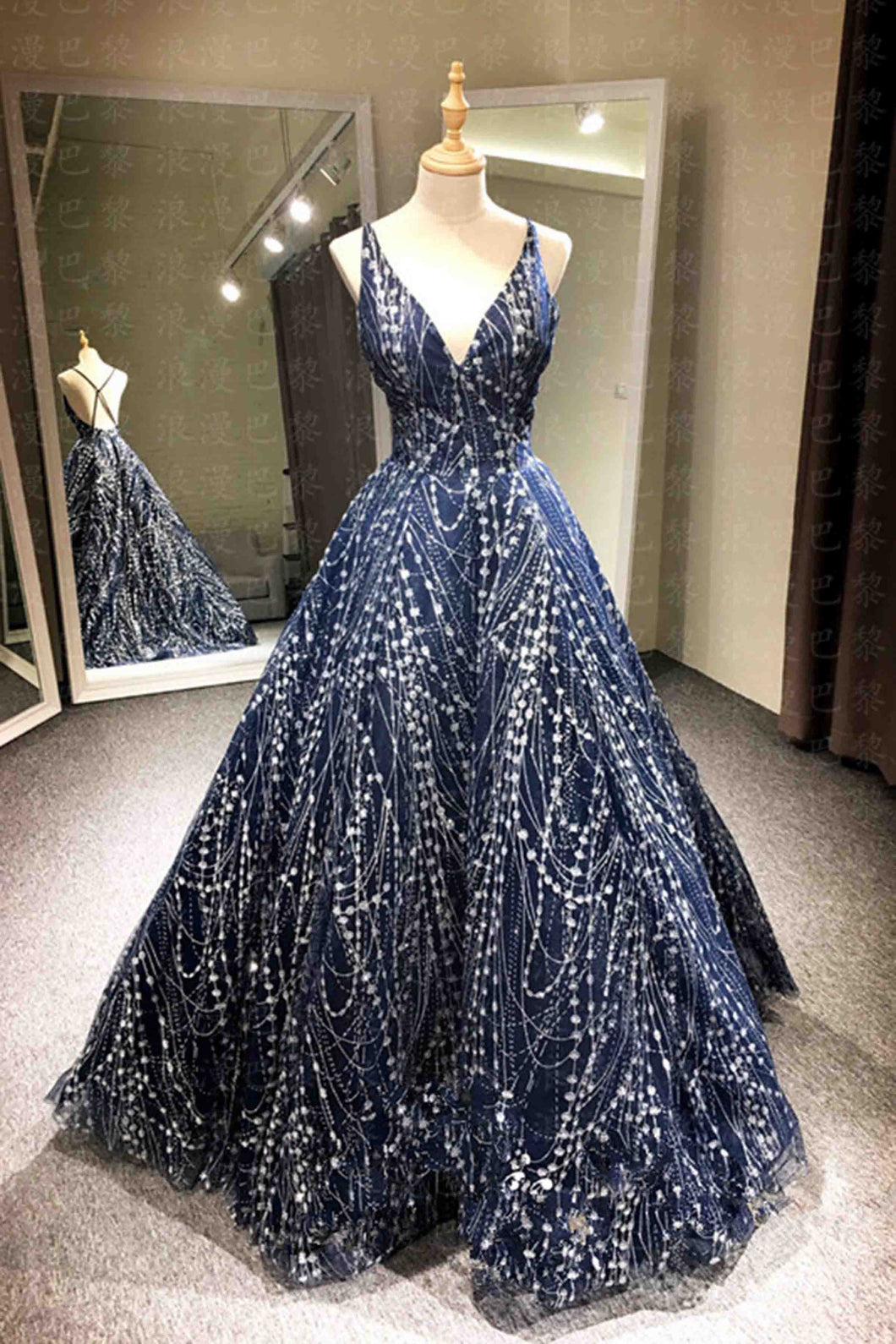 2018 evening gowns - Luxury beading tulle backless V-neck A-line long evening dresses for teens