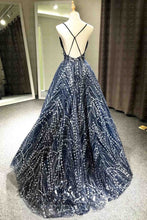 Load image into Gallery viewer, 2018 evening gowns - Luxury beading tulle backless V-neck A-line long evening dresses for teens