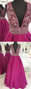 Sweet 16 Dresses | Stylish rosy satin deep V neck long beaded cross back evening dress, long spring party dress