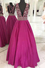 Load image into Gallery viewer, Sweet 16 Dresses | Stylish rosy satin deep V neck long beaded cross back evening dress, long spring party dress