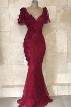 Load image into Gallery viewer, 2019 Prom Dresses | Big Discount!  Burgundy Beaded Tulle Short Sleeves Mermaid Long Prom Dress, Formal Dress
