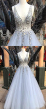 Load image into Gallery viewer, 2019 Prom Dresses | Blue Tulle Long Silver Beaded Prom Dress, Formal Dress