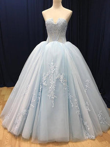 2019 Prom Dresses | Blue tulle customize long V neck high waist evening dress, long formal prom dress