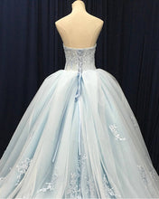 Load image into Gallery viewer, 2019 Prom Dresses | Blue tulle customize long V neck high waist evening dress, long formal prom dress