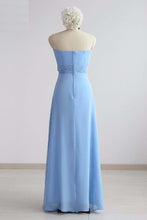 Load image into Gallery viewer, Simple Blue Chiffon Strapless Long Bridesmaid Dress, Prom Dress With Bowknot