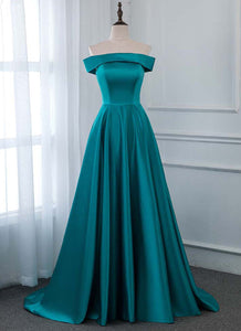 Turquoise Satin Strapless Long Bridesmaid Dress, Prom Dress