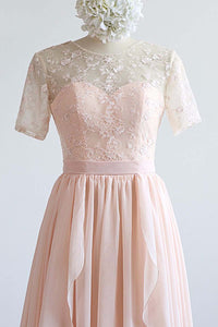 Nude Pink Chiffon Long Ruffles Lace Prom Dress With Sleeve