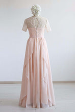 Load image into Gallery viewer, Nude Pink Chiffon Long Ruffles Lace Prom Dress With Sleeve