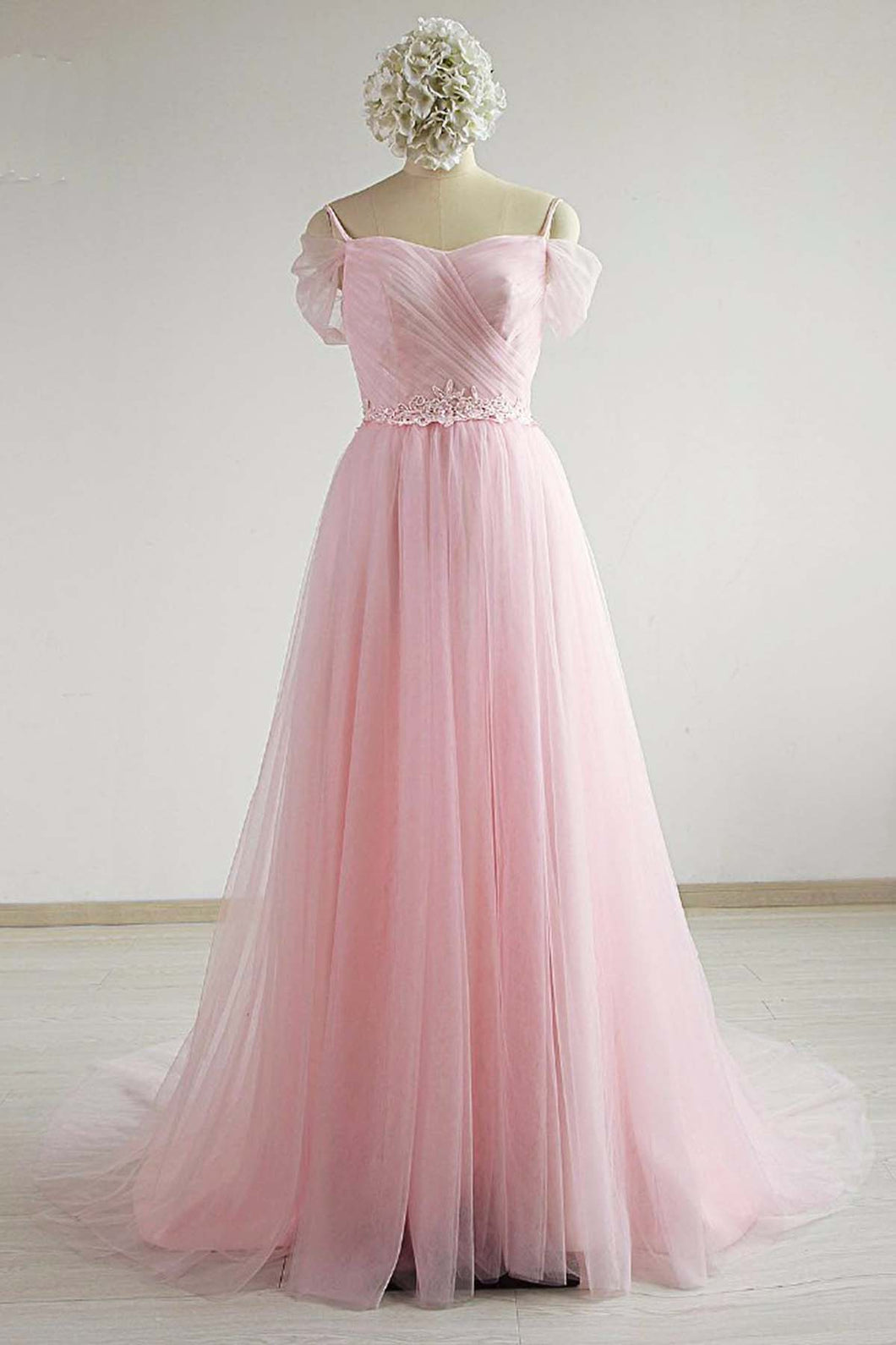 Pink Tulle Sweetheart Neck Cap Sleeve Long Prom Dress, Graduation Dress
