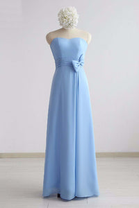 Simple Blue Chiffon Strapless Long Bridesmaid Dress, Prom Dress With Bowknot