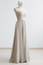 Load image into Gallery viewer, Strapless Gray Chiffon Long Open Back Prom Dress, Bridesmaid Dress