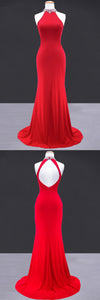 Unique Red O Neck Open Back Long Mermaid Prom Dress, Party Dress