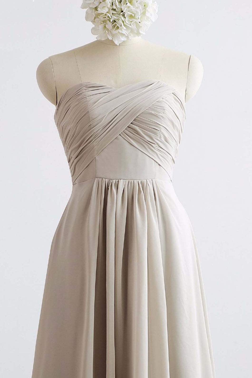 Strapless Gray Chiffon Long Open Back Prom Dress, Bridesmaid Dress