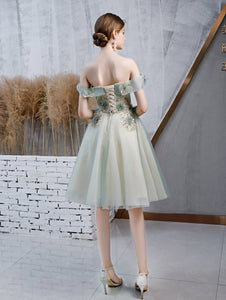 Sweetheart Off The Shoulder Short Prom Dress, Evening Dress With Appliques