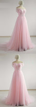 Load image into Gallery viewer, Pink Tulle Sweetheart Neck Cap Sleeve Long Prom Dress, Graduation Dress