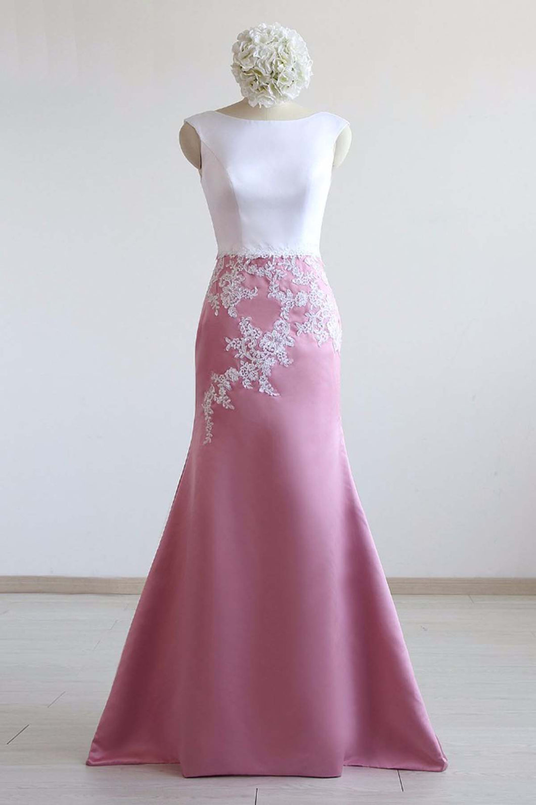 Pink and White Satin Long Mermaid Prom Dress With Applique
