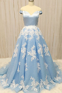 2019 Prom Dresses | Baby Blue Tulle Sweetheart Neck Long Prom Dress With Lace Applique