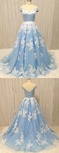 Load image into Gallery viewer, 2019 Prom Dresses | Baby Blue Tulle Sweetheart Neck Long Prom Dress With Lace Applique