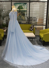 Load image into Gallery viewer, 2019 Prom Dresses | Baby Blue Tulle Long Beaded Sweet 16 Prom Dress With Sleeves, Slit Evening Dress