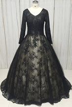 Load image into Gallery viewer, 2019 Prom Dresses | Black Lace V Neck Long Sleeve Formal Prom Dress, Evening Dress
