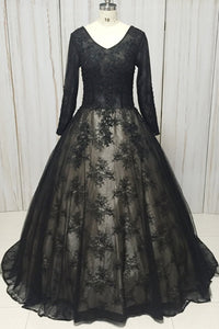 2019 Prom Dresses | Black Lace V Neck Long Sleeve Formal Prom Dress, Evening Dress