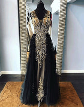 Load image into Gallery viewer, 2019 Prom Dresses | Black tulle V neck long embroidery lace halter evening dress with removable skirt