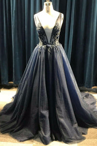 2019 Prom Dresses | Black Tulle Deep V Neck Long Open Back Beaded Prom Dress With Applique
