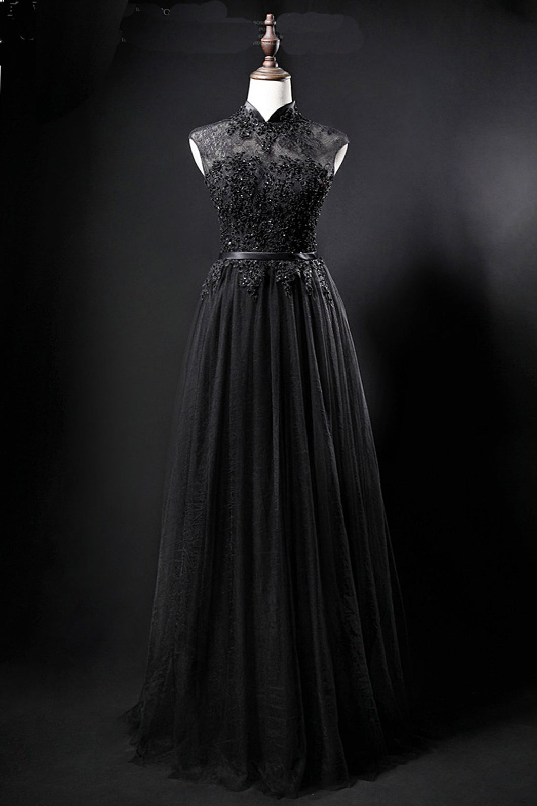 2019 Prom Dresses | Black tulle high neck long a line evening dress, black lace top formal prom dress