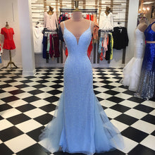 Load image into Gallery viewer, Sweet 16 Dresses | Shinning sky blue tulle floor length spaghetti straps mermaid open back evening dress
