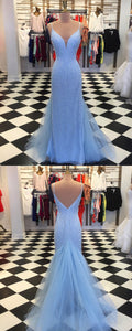 Sweet 16 Dresses | Shinning sky blue tulle floor length spaghetti straps mermaid open back evening dress