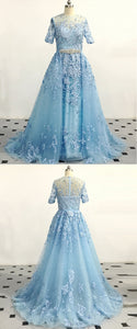 2019 Prom Dresses | Blue Tulle Short Sleeve Long Lace Formal Prom Dress, Beading Evening Dress
