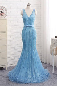 Sweet 16 Dresses | Spring fresh blue tulle V neck long mermaid evening dress with bowknot, long sequins line prom dress