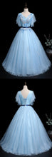 Load image into Gallery viewer, 2019 Prom Dresses | Blue Tulle V Neck Cap Sleeve Long Quinceanera Prom Dress, Ball Gown With Applique