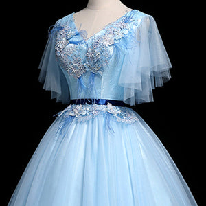2019 Prom Dresses | Blue Tulle V Neck Cap Sleeve Long Quinceanera Prom Dress, Ball Gown With Applique