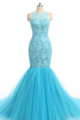 2019 Prom Dresses | Baby Blue Lace O Neck Long Mermaid Evening Dress, Long Tulle Senior Prom Dress
