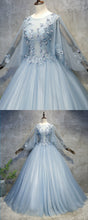 Load image into Gallery viewer, 2019 Prom Dresses | Blue grey tulle scoop neck long beaded formal prom dress with sleeves