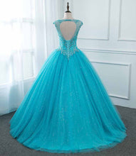Load image into Gallery viewer, 2019 Prom Dresses | Blue Tulle Open Back Long Lace Up Beaded Hight Waist Evening Dress, Prom Dress