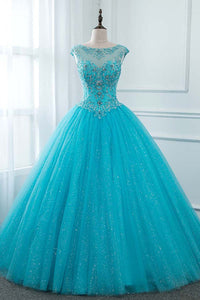 2019 Prom Dresses | Blue Tulle Open Back Long Lace Up Beaded Hight Waist Evening Dress, Prom Dress