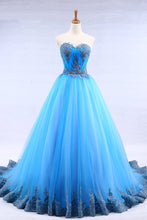 Load image into Gallery viewer, 2019 Prom Dresses | Bright blue tulle sweetheart neck long strapless a line senior prom dress with appliqué