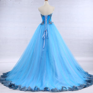 2019 Prom Dresses | Bright blue tulle sweetheart neck long strapless a line senior prom dress with appliqué