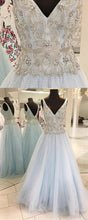 Load image into Gallery viewer, Sweet 16 Dresses | Spring fresh blue tulle V neck long silver sequins and beaded floor length sweet 16 prom dresses