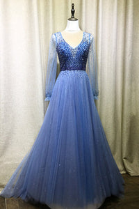2019 Prom Dresses | Blue Tulle Open Back Long A Line Evening Dress Prom Dress With Long Sleeves