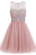 Load image into Gallery viewer, Sweet 16 Dresses | Pink organza sequins beaded A-line round neck see-through short dresses for teens