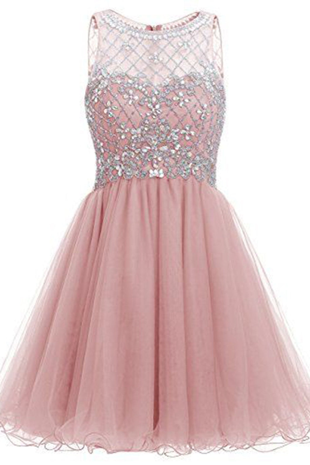 Sweet 16 Dresses | Pink organza sequins beaded A-line round neck see-through short dresses for teens