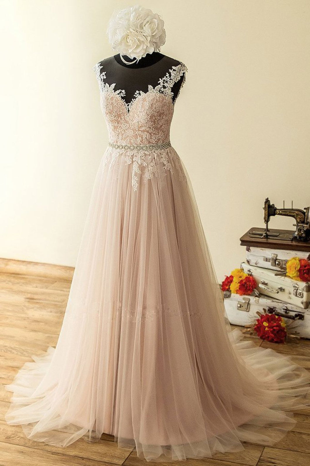 2019 Prom Dresses | Blush Pink Tulle Long Lace Beaded A Line Halter Prom Dress, Evening Dress