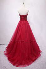 Load image into Gallery viewer, 2019 Prom Dresses | Burgundy Tulle Sweetheart Neck Long Crystal Evening Dress, Prom Dress